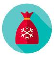 Flat Design Christmas Santa Bag Circle Icon vector image
