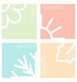 four nature seasons pastel color squares vector image vector image