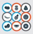 fruit icons set with fig marakuja pineapple and vector image vector image