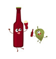 funny beer bottle and hop characters having fun vector image vector image