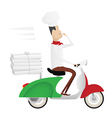 Funny chef delivering pizza on moped vector image vector image