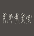 funny skeletons dancing day dead halloween vector image vector image
