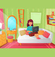 girl student bedroom teenager apartment room vector image