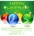 Glossy Merry Christmas 2017 greeting card vector image vector image