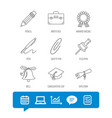graduation cap pencil and diploma icons vector image vector image