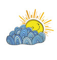 happy sun and cloud doodle sticker vector image