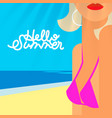 hello summer poster portrait of sexy hot girl vector image vector image