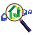 house sign under magnifier glass vector image vector image