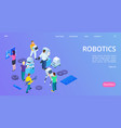 isometric robotics landing page people building vector image vector image