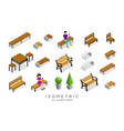 isometric wooden bench collection vector image vector image