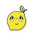 kawaii nice thinking lemon fruit vector image vector image