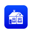 large single-storey house icon digital blue vector image vector image