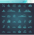 line set of ships and boats vector image vector image