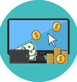 Making money online concept Flat design Icon in vector image