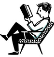 Man sitting in the chair and reading the book vector image