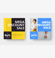 Mega sale square banner design with yellow blue