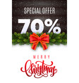merry christmas holiday sale 70 percent off vector image