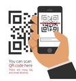 Mobile phone reads the QR code vector image vector image
