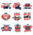 motorcycle speed racing retro painting vector image vector image