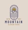 mountain lineart logo template vintage concept vector image vector image