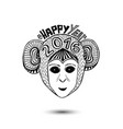 new year of monkey 2016 print design vector image
