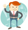 Office man waving in front of his working place vector image vector image