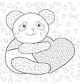 Panda with heart kid coloring book page vector image vector image