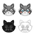 raccoon muzzle icon in cartoon style isolated on vector image vector image