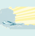 retro airplane flying in the clouds air travel vector image vector image