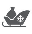 santa sleigh glyph icon sledge and winter vector image
