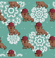 seamless pattern dog in beret vector image vector image