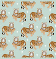 seamless pattern with tiger on green background vector image vector image