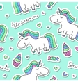 seamless pattern with unicorns vector image vector image
