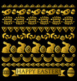 set of golden easter lace paper with flower vector image vector image