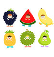 set of kids in cute fruit costumes vector image