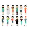 Set of Woman Characters vector image vector image