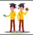 smiling student in graduation cap with a credit vector image vector image
