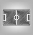 soccer field pencil sketch imitation vector image vector image