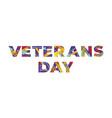 veteran s day concept retro colorful word art vector image