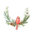 watercolor christmas wreath with bird vector image vector image
