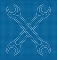 wrench outline icon vector image vector image