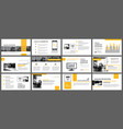 Yellow and white element for slide infographic on