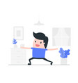 young man doing yoga at home vector image vector image