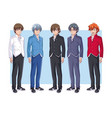 young mens anime cartoons vector image