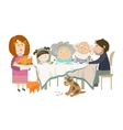 Portrait of big family sitting at the table vector image