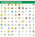 100 megapolis icons set cartoon style vector image vector image