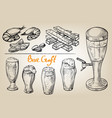 beer tower hops mug and glass vector image vector image