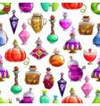 bottles halloween potion seamless pattern vector image