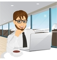 businessman working at laptop at airport vector image