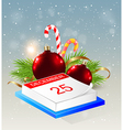 Calendar and red decorations vector image vector image